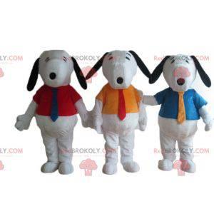 3 mascottes de Snoopy célèbre chien blanc de bande dessinée -