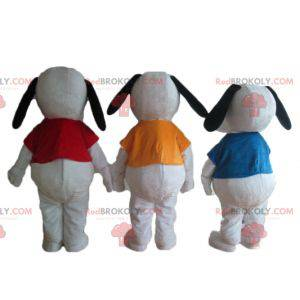 3 berühmte weiße Cartoon-Snoopy-Hundemaskottchen -