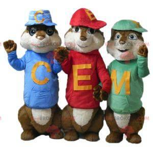 3 mascotte scoiattolo di Alvin and the Chipmunks -