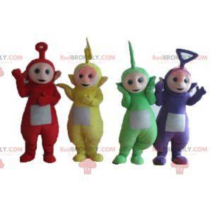 4 maskotki Teletubisie, kolorowe postacie z seriali