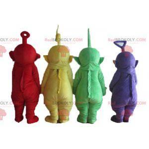 4 Teletubbies maskotter, farverige figurer fra tv-serier -