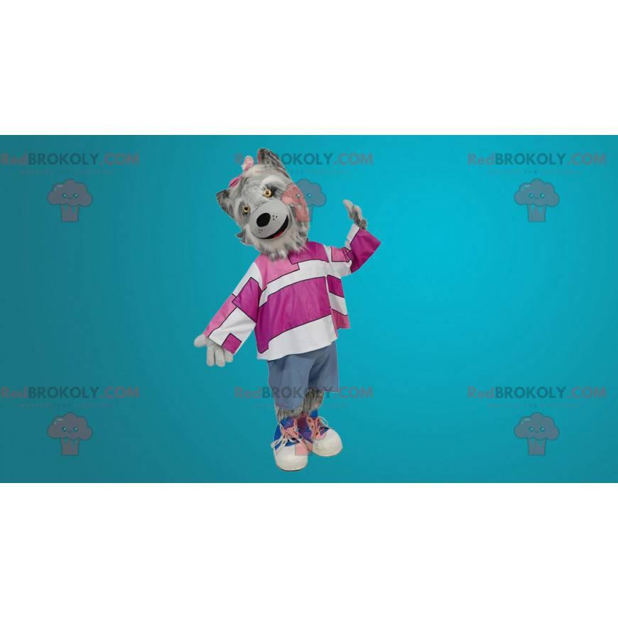Dlouhosrstý šedý vlk maskot - Redbrokoly.com
