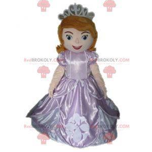 Mascotte principessa dai capelli rossi in abito rosa -