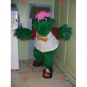 Green and pink monster mascot all hairy crocodile -