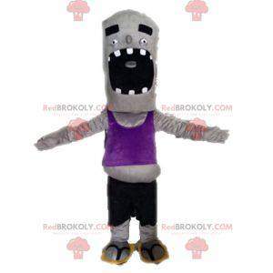 Funny and giant gray zombie mascot - Redbrokoly.com