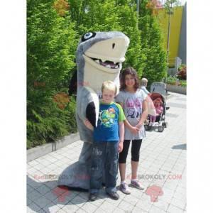 Maskot grå og hvit haj gigant og veldig vellykket -