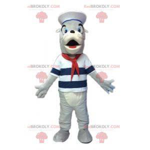 Grijze en witte zeeleeuwmascotte verkleed als zeeman -
