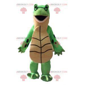 Obří zelený a béžový maskot želvy - Redbrokoly.com