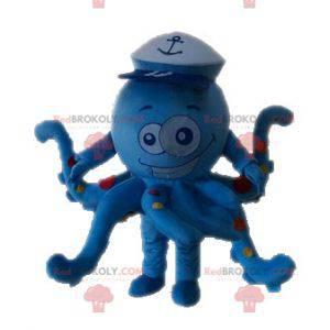 Modrá chobotnice chobotnice maskot s puntíky - Redbrokoly.com