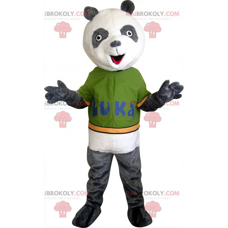 Graues und weißes Panda-Maskottchen - Redbrokoly.com