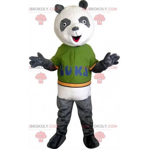Grå og hvit panda maskot - Redbrokoly.com