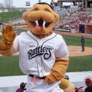 Mascotte serpente marrone in abito da baseball bianco -