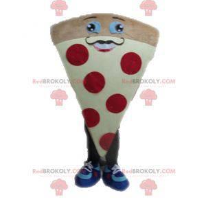 Mascote gigante da pizza. Mascote de fatia de pizza -