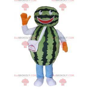 Riesiges Wassermelonenmaskottchen. Maskottchen mit grünen