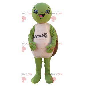 Zielony i brązowy żółw maskotka okrągłe i zabawne -