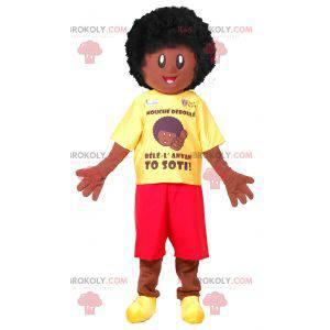 Maskotka chłopca afro. Afrykańska maskotka - Redbrokoly.com