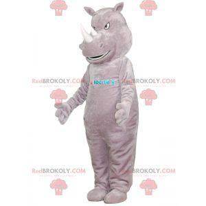 Mascote rinoceronte cinza gigante e intimidante - Redbrokoly.com
