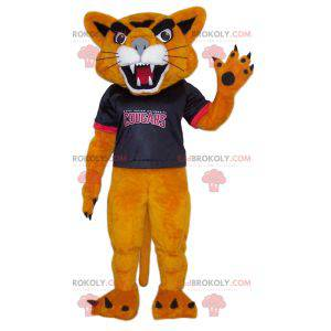 Aggressive cougar mascot with his supporter jersey -