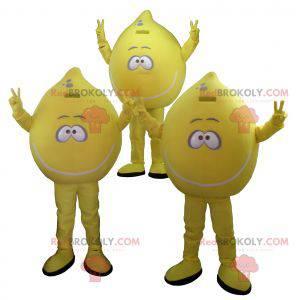 3 gigantiske gule sitronmaskoter. Sett med 3 maskoter -