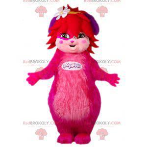 Růžový a chlupatý ženský maskot Popples. Růžové stvoření -