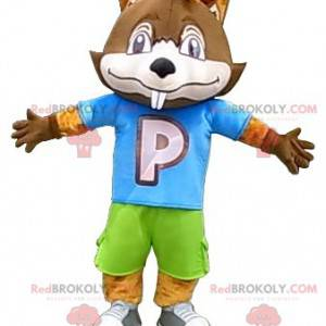 Maskotka duży brązowy bóbr w kolorowym stroju - Redbrokoly.com