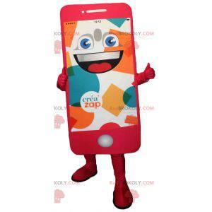 Gigantrosa mobiltelefon maskot. Maskott Créa'zap -