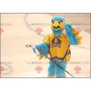 Mascote pássaro azul e amarelo todo peludo - mascote águia -