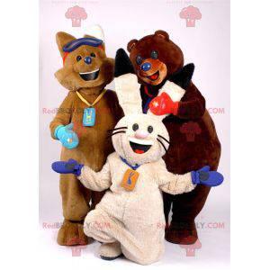 3 mascotes uma raposa marrom, um coelho branco e um urso marrom