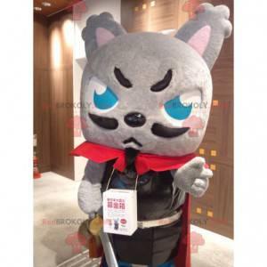 Maskot šedá kočka oblečený jako mušketýr - Redbrokoly.com