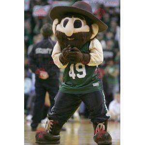 Vousatý muž maskot s velkým kloboukem - Redbrokoly.com