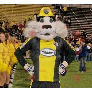 Schwarzweiss-Waschbärenkatzenmaskottchen in der Sportbekleidung