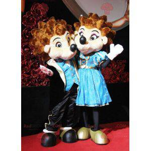 2 mascotes de ouriços marrons e brancos em trajes elegantes -