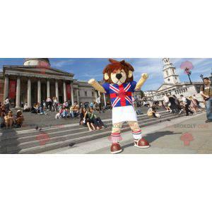 Brązowo-beżowa maskotka lew z brytyjską koszulką -
