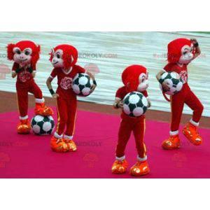 Rotes und weißes Affenmaskottchen in der Sportbekleidung -