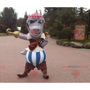 Šedý žralok maskot oblečený v pirátském kostýmu - Redbrokoly.com