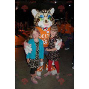 Geflecktes Leopardenkatzenmaskottchen mit farbigen Augen -