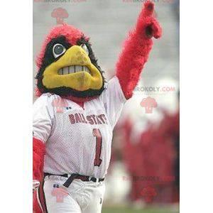Maskot rød svart og gul ørn i sportsklær - Redbrokoly.com