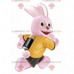 Mascot of the famous pink rabbit from the brand of batteries