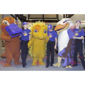 3 mascotes, um pássaro, um ouriço amarelo e uma lontra -