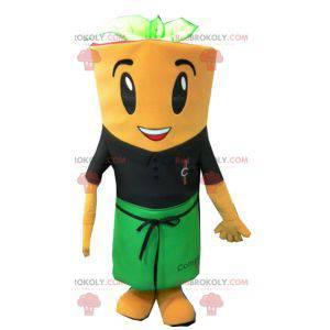 Reuze wortel mascotte met een schort - Redbrokoly.com