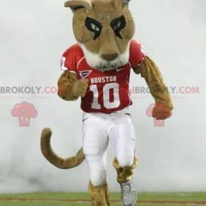 Hnědý a bílý tygr maskot ve sportovním oblečení - Redbrokoly.com