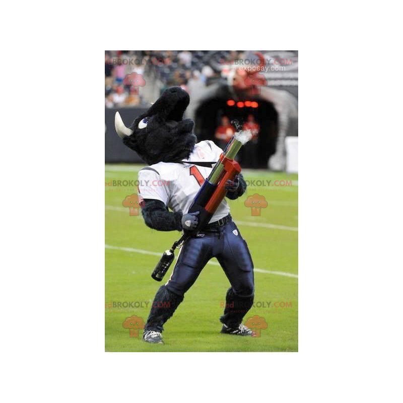 Maskotka czarny bawół w stroju do futbolu amerykańskiego -