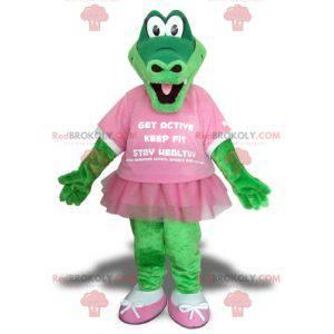 Mascota de cocodrilo verde con un tutú rosa - Redbrokoly.com