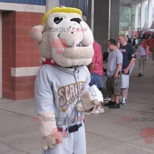 Beige Bulldogge Hund Maskottchen in Sportbekleidung -
