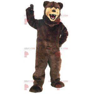 Mascote urso feroz marrom e bege todo peludo - Redbrokoly.com