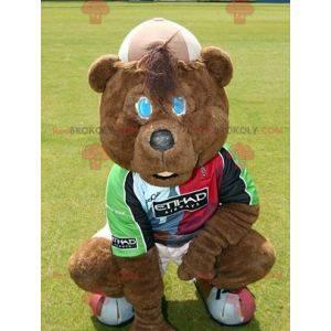 Mascotte dell'orso bruno in abbigliamento sportivo -