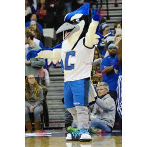 Grote blauwe vogel mascotte wit en zwart blauwe gaai -