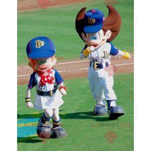 2 sehr süße athletische Jungen- und Mädchenmaskottchen -