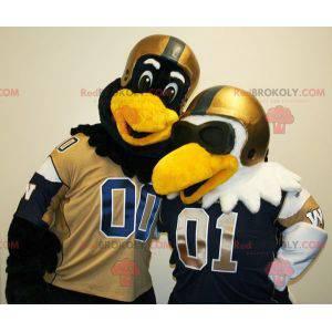 2 mascotes pássaros, um preto e um branco com capacetes -