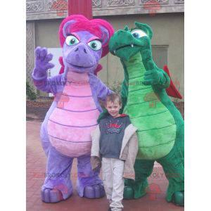 2 bunte Dinosaurier Drachen Maskottchen - Redbrokoly.com